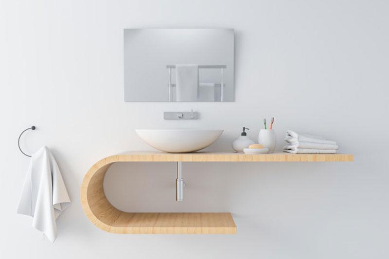 White Basin on Wooden Shelf