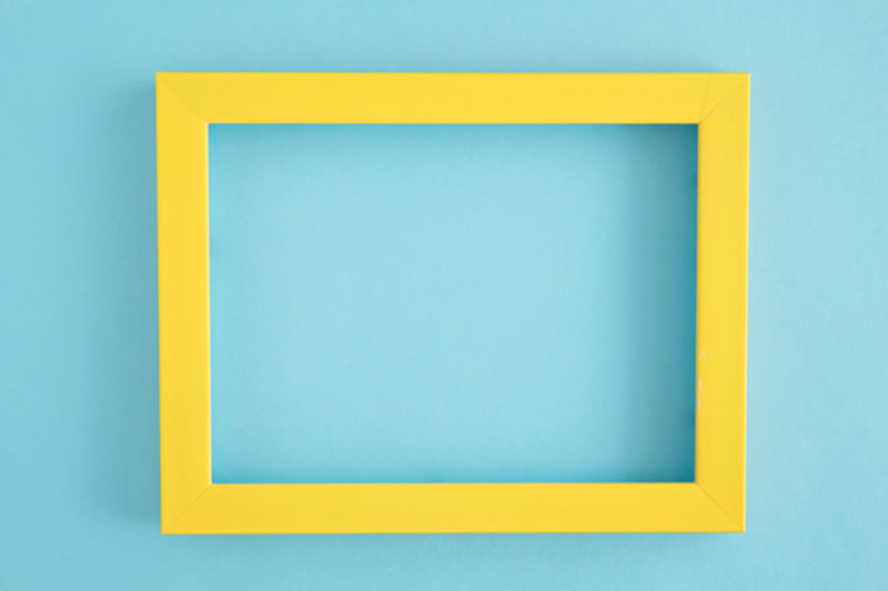 Yellow Border Frame on Blue Background