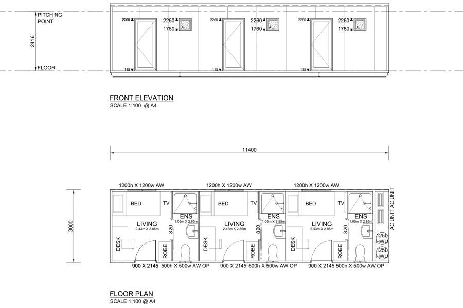 11.4m Long Accommodation