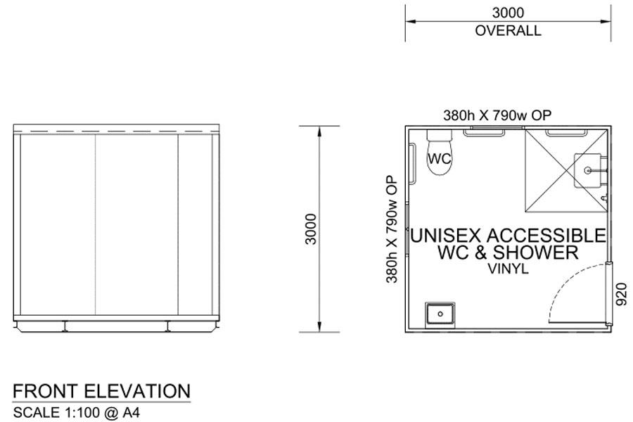 3m Long Portable Bathrooms