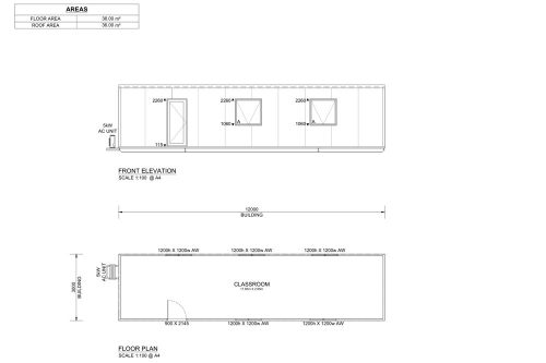 12m Long Classroom and Offices