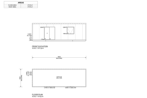 9m Long Classroom and Offices